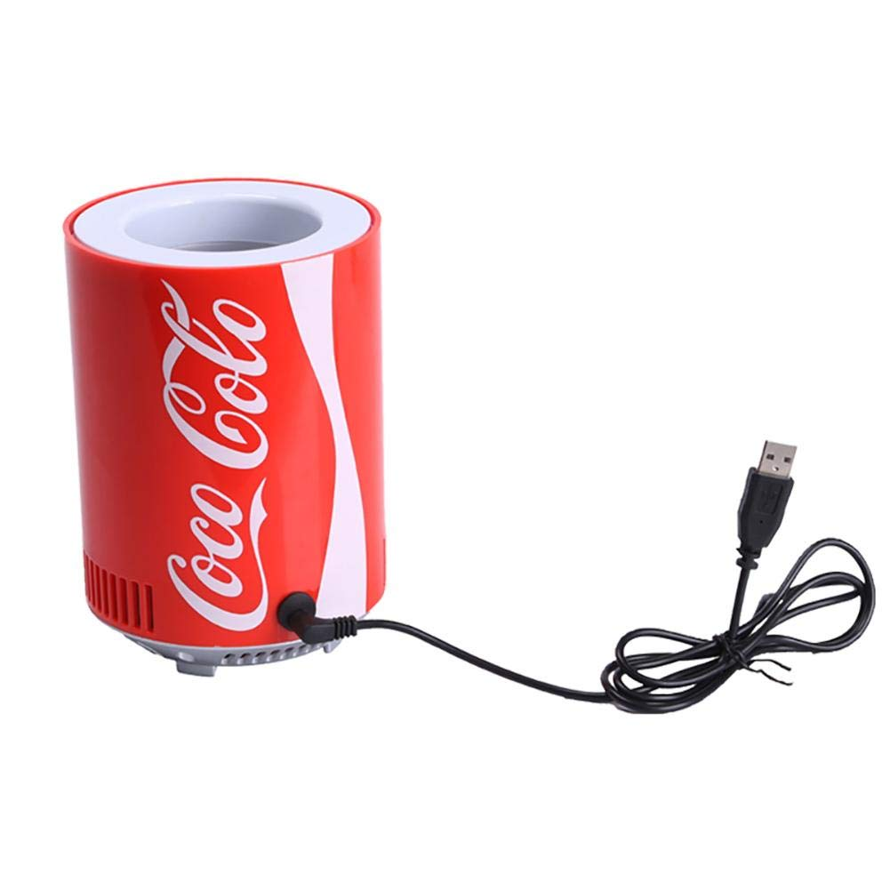 Lijuan Qin Portable Car Refrigerator, Coke Can Mini USB Refrigerator Fridge, Beverage Cooler Cooling Tank for Office Bedroom School