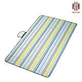 """Hot Sky Picnic Mat(5 Feet by 5 Feet) — Thick, Moisture-Resistant Oxford Tablecloth – Portable Cover for Outdoor Tailgating, BBQ Picnics, Camping – Waterproof Tent Pad (Yellow Blue, 59"""" x 98"""")"""