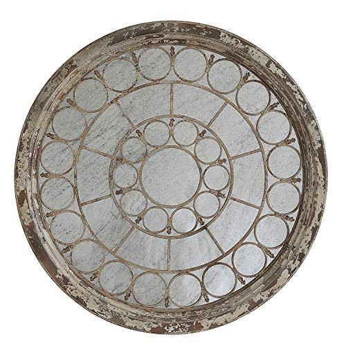 Creative Co-Op Antiqued Round Wood Framed Metal Circle Accents Mirror, Grey