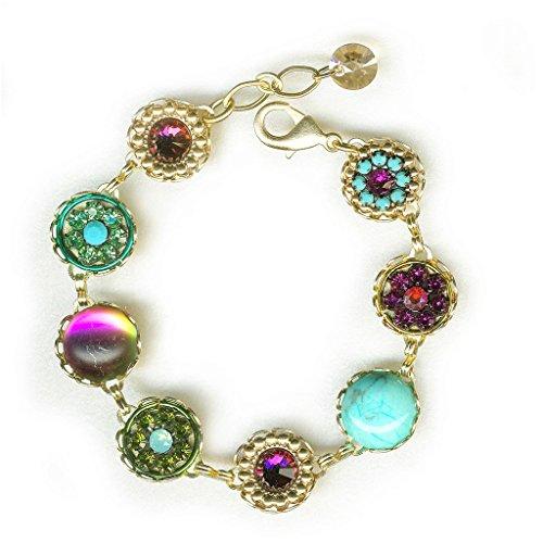 (Clara Beau Elegant Multicolor Swarovski crystal GoldTone Filigree Cluster Bracelet BF149)