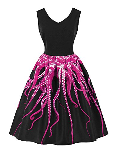Wellwits Women's 3D Digital Octopus Print Sleeveless Vintage Dress Fuchsia 4XL -