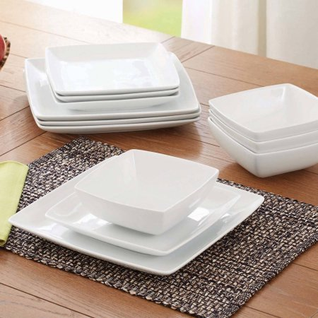 Better Homes and Gardens Coupe Square 12-Piece Dinnerware Set, White (Coupe Square Plate Set)