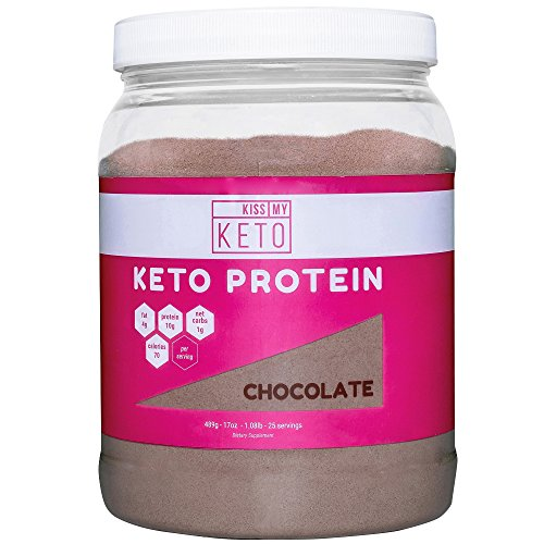 Supplement Shake Mix (Kiss My Keto Protein Powder - Chocolate, Pure Grass-fed Collagen Peptides & MCT Oil, Low Carb, High Fat Keto Shake Coffee Creamer for Ketogenic Diets, 25 Servings, Meal Replacement, Get Into Ketosis)