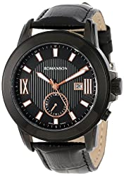 Romanson Men's TL0381MM1BA36R Modern Swiss Quartz Date Function Dual Time Luminous Hands and Markers Watch