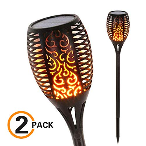 UNITRIP Solar Flame Lights, LED Outdoor Waterproof Lawn Torch Light Dusk to Dawn Auto On/Off Security Warm Lamp for Garden Patio Path Deck Yard Driveway (2 Pack) -