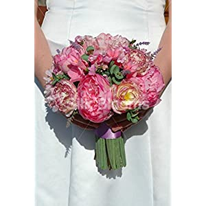 Gorgeous Pink Bridal Bouquet w/ Peonies, Ranunculus and Freesia