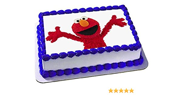 Amazon Seseme Street Elmo Cake Edible 1 4 Sheet Image Topper Birthday Party Favor Movie Grocery Gourmet Food