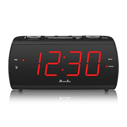 DreamSky Digital Alarm Clock Radio with USB Charging Port and FM Radios, Earphone Jack, Large 1.8 Inch LED Display with Dimmer, Snooze, Sleep Timer, ...