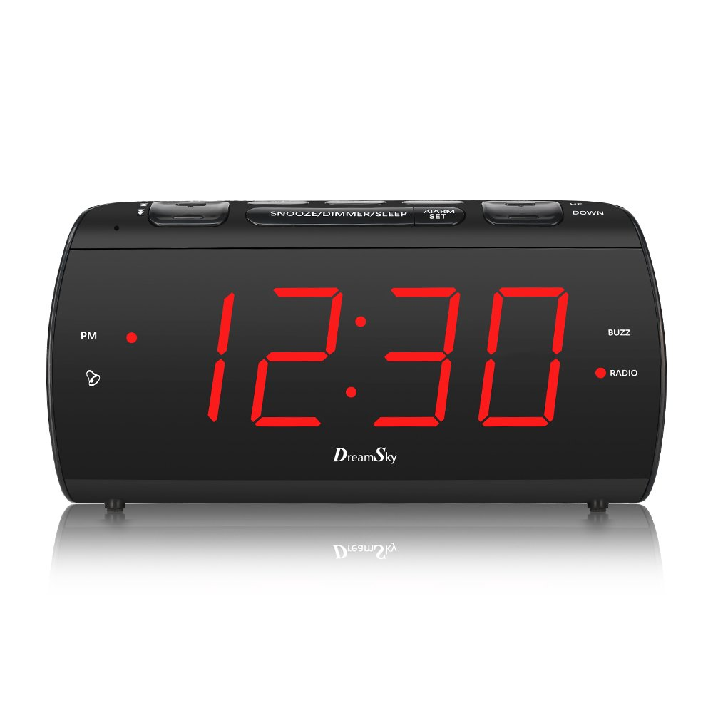 DreamSky Large Alarm Clock Radio with FM Radio and USB Port for Charging, 1.8'' LED Digit Display with Dimmer, Snooze, Sleep Timer, Adjustable Alarm Volume, Headphone Jack, Outlet Powered