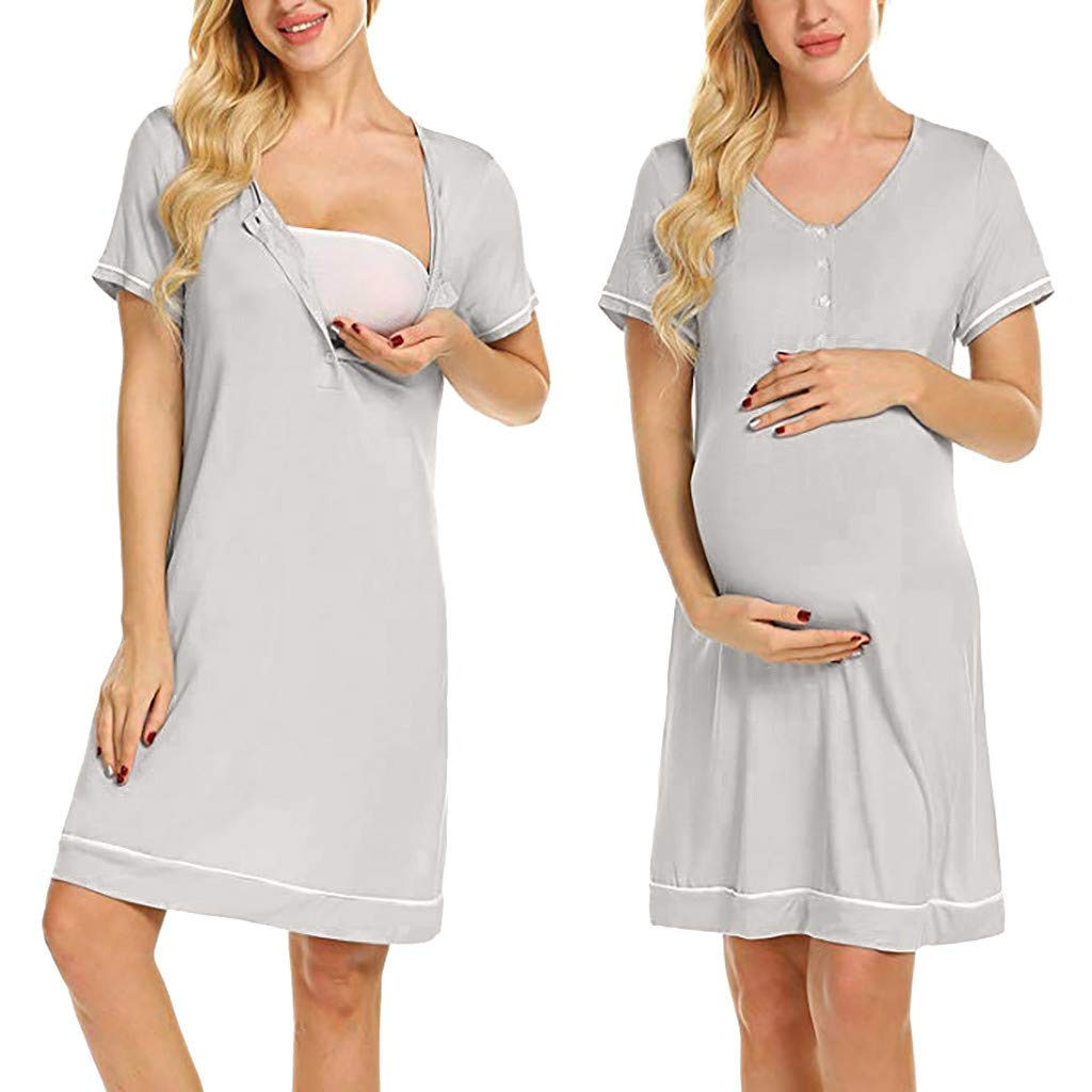Lurcardo Stillkeid Umstandskleid Kurzarm Taste Rundhals Stillkleid Schwangerschafts Kleid Mode Still-Nachthemd Stillen Kleid Umstandsmode Frauen Damen Kleid Sommer Damen Kleider Nachtw/äsche