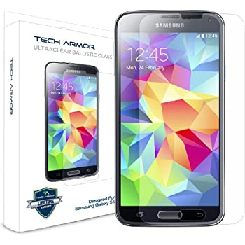 Samsung Galaxy S5 Glass Screen Protector, Tech Armor Premium Ballistic Glass [1-pack]