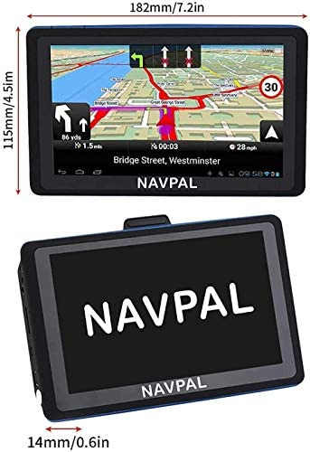 Slimline GPS Navigation, (7 INCH) with 2021 USA & World MAPS Edition + Free Lifetime Updates [100% no Hidden fees], Navigator for Car Truck Motorhome, Speed Cam Alerts, Lane Guidance