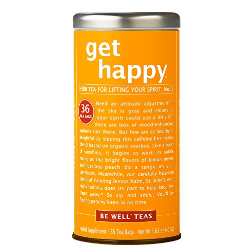 - The Republic Of Tea Be Well Red Rooibos Tea - Get Happy - No. 13 Herbal Tea, Peaches and Lemon Balm, Uplifting Blend, 36 Tea Bag Tin