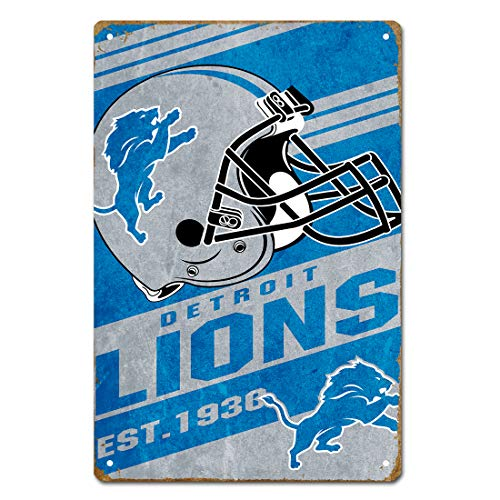 MamaTina Cool Vintage Detroit Lions American Football Team Design Metal Tin Signs for Home Wall Decor Size 12x8 Inches