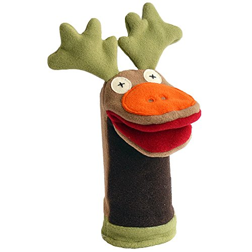 "Price comparison product image Cate and Levi 12"" Handmade Softy Moose Hand Puppet (100% USA Polar Fleece)"