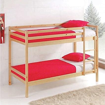 Miroytengo Litera Premier Fabricada en Madera Color Natural litera Dormitorio Juvenil Camas 90x190 cm con somieres