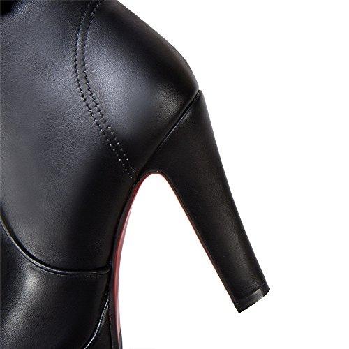 Balamasa Womens Spikes Stiletto Vestito Piattaforma Uretano Stivali Abl10344 Nero