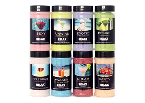 Happy Hour Aromatherapy Bath Salts, Crystals –Pack of 8, 17 Oz- Natural Minerals – Aroma Therapy For Hot Tubs, Spas & Jacuzzi by Relax Spa & Bath