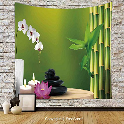 FashSam Hanging Tapestries Bamboo Flower Stone Wax on The Table Orchid Rock Healthy Lifestyle Wall Blanket for Living Room Dorm Decor(W39xL59) (Lifestyle California Cherry Table)