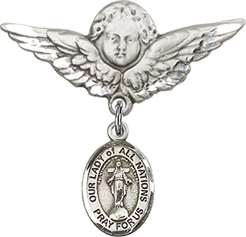 Sterling Silver Baby Badge Guardian Angel Pin with Our Lady of All Nations Charm, 1 1/4 Inch