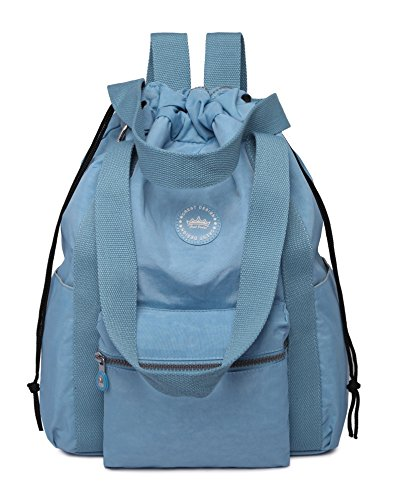 Crest Design Water Repellent Nylon Multipurpose Backpack Crossbody Shoulder Bag (Large, Sky Blue)