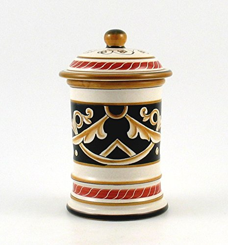 Hand Painted Italian Ceramic 7.4-inch Canister Barocco Nero - Handmade in Deruta by Fima