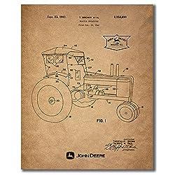 John Deere Patent Prints - Set of Four Vintage Tra