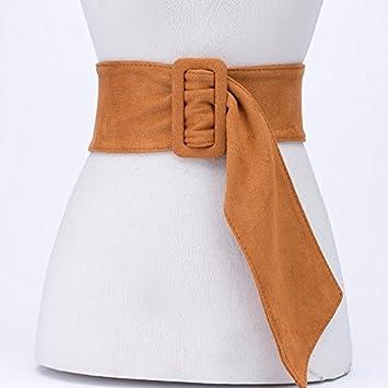 2018 tendencia de la moda superficie suave mostrar correa cinturón femenino ancho suéter decorativo falda abrigo ancho del sello de la cintura Amarillo: ...