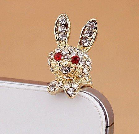 - Bling Phone Charm,anti Dust Plug for Iphone -- Diamond Rabbit