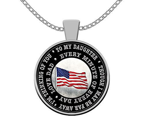 (Dolphin Bay Products Father to Daughter, Deployment Gift, to My Daughter, from Dad, Military, Silver Plated, Pendant Keepsake)