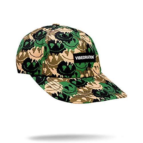 Vibedration Unisex Adjustable Baseball Cap | Festival Gear, Rave Clothing & Outfit Accessory (Camo Smileys)