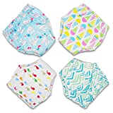 MooMoo Baby CottonTraining Pants 4 Pack Padded Toddler Potty Training Underwear for Girls-2T