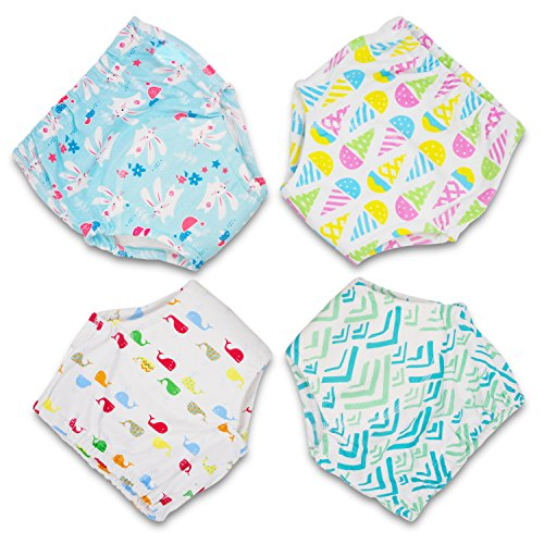 (MooMoo Baby CottonTraining Pants 4 Pack Padded Toddler Potty Training Underwear for Girls-3T)