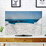 Leighhome Dust Resistant Television Protector Travel Hotel with White Stones Santorini Greece with Sea and White tv dust Cover W19 x H30 INCH/TV 32''
