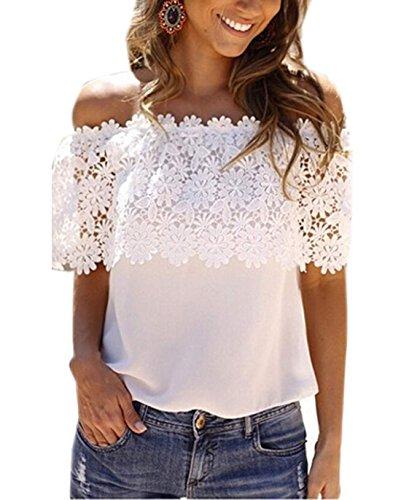 Femme Bateau Blouse Dentelle Blanc Haut Et Col T Fashion Couleur Shirt Chemises Sexy Epissure Svelte Unie dBUXqUSwn
