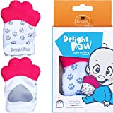 Delight Paw Baby Teething Mitten Mom Designed for Self Soothing Pain Relief   with Hygienic Travel Bag   Mittens BPA Free   Prevents Scratches   Baby Boy or Baby Girl   0-6 Months   Precious Pink
