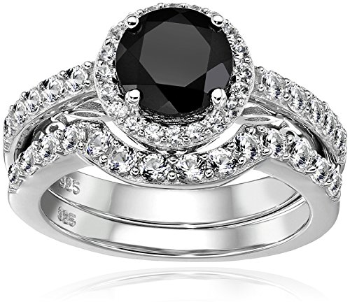 - Sterling Silver Genuine Black Spinel and Created White Sapphire Modern Bridal Engagement Ring Set, Size 7