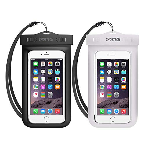 Universal Waterproof Case, CHOETECH 2 Pack Clear Transparent Cellphone Waterproof, Dustproof Dry Bag with Neck Strap compatible with iPhone 11 Pro Galaxy Note10 S10 S9 and All Devices Up to 6.5 Inches