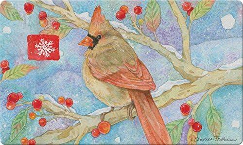 Toland Home Garden Noel Cardinal 18 x 30 Inch Decorative Bird Floor Mat Winter Berries Doormat