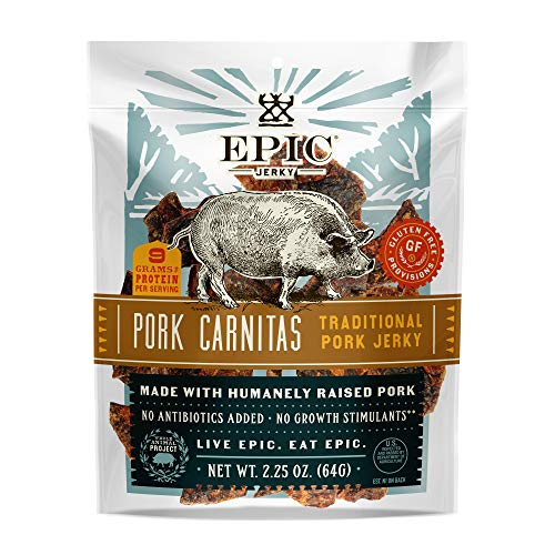 EPIC Pork Carnitas Traditional Jerky, 8 Count Box 2.25 pouches