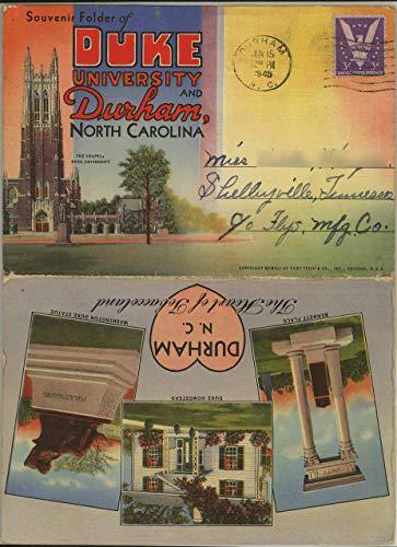 Duke University and Durham North Carolina - 1941 Souvenir Curt Teich Souvenir Postcard Folder #D-6499