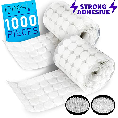 Hook and Loop Dots Strips with Adhesive – 1000 PCs (500 Pairs) White Tiny Hook Loop Roll Coins – ¾ Inch (20 mm) Heavy Duty Sticky Back Coins – 3m Hook Tape Circles for Crafts, Classroom, Office, Home