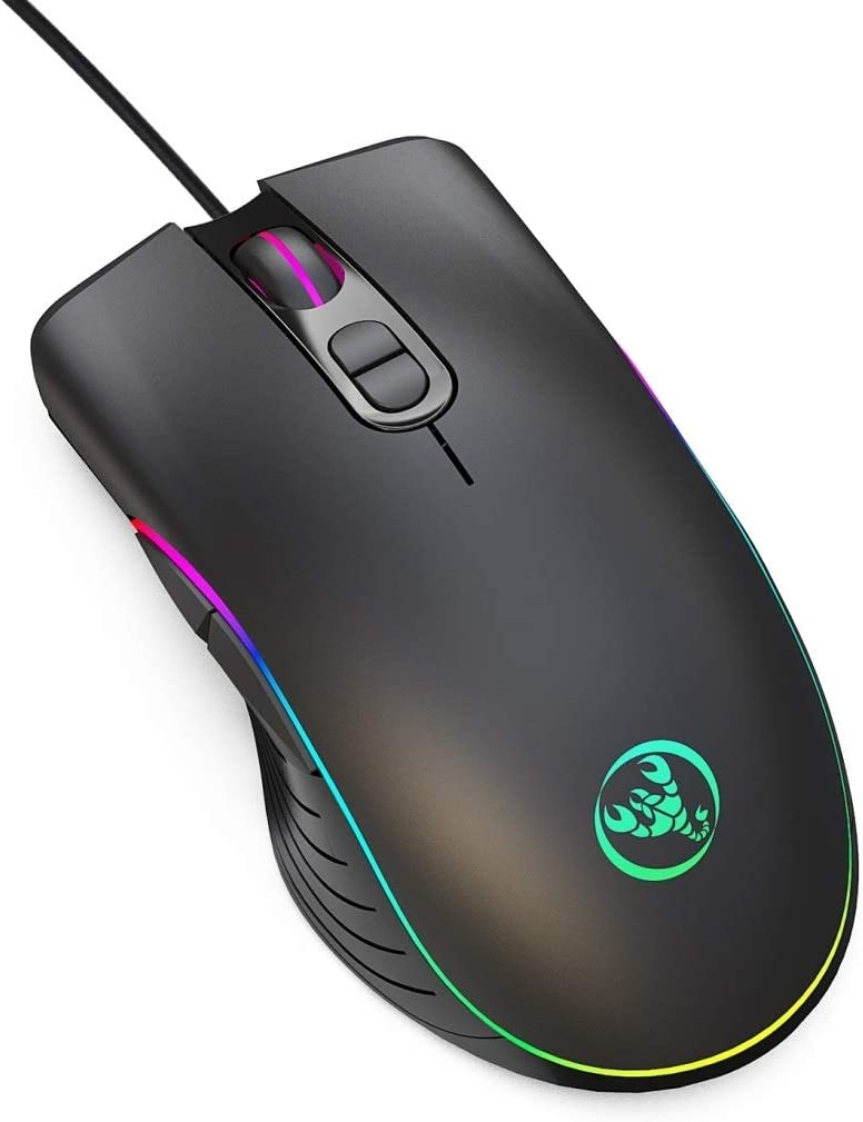 Computer A867 USB 6400DPI Four-Speed Adjustable RGB Illuminate Wired E-Sport Gaming Mouse 1.5m Easy to Install and Convenient Usage Length