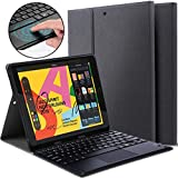 Ferilinso Bluetooth Keyboard Case for iPad 10.2 inch 2019,Detachable Wireless Keyboard Leather Case with Pencil Holder Touchpad Kickstand Cover Auto Wake/Sleep Case for iPad 10.2 inch 2019-Black