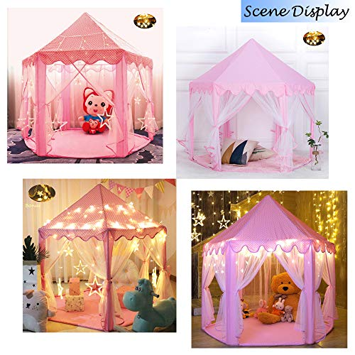 Wilwolfer Princess Castle Play Tent for Girls Large Kids Play Tents Hexagon Playhouse with Star Lights Toys for Children…