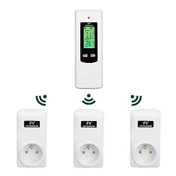 Programmable Wireless Thermostat Sockel zur Steuerung von Heizung oder K/ühlung mit Fernbedienung Hergon Intelligent Temperaturregler Socket LCD-Hintergrundbeleuchtung EU-Stecker