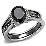 2.50 Ct Oval Cut CZ Black Stainless Steel Wedding Ring Set Women's Size 5-11 (6)