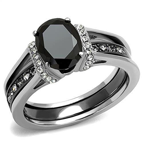 2.50 Ct Oval Cut CZ Black Stainless Steel Wedding Ring Set Women's Size 5-11 (6) by Vip Jewelry Co