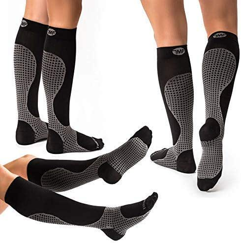 3 Pairs of Compression Socks for Women & Men Knee High Compression Socks - Relieve Calf & Leg Pain - Graduated to Boost Circulation & Reduce Edema Swelling - (Black and Gray, XL)