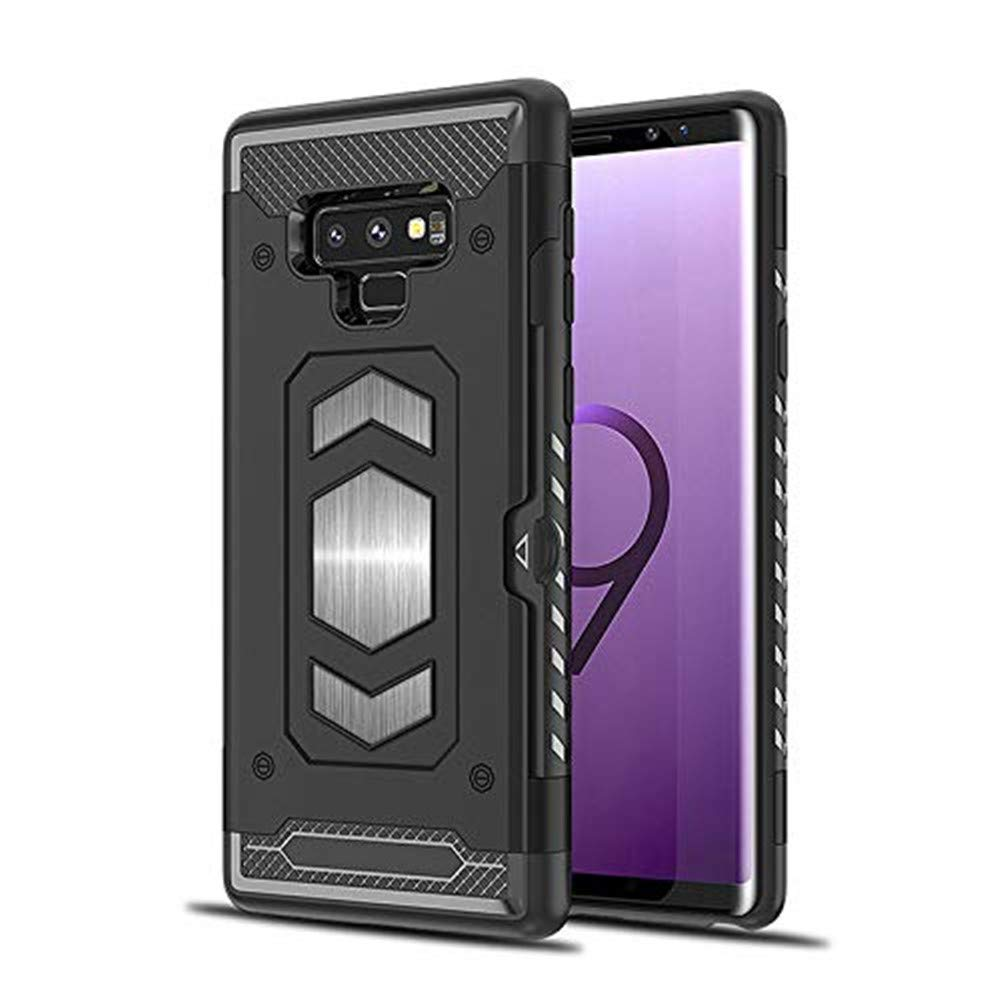 Note 9 Card Holder Case,Lozeguyc Shockproof Anti-Scratch Hard Shell Skin Soft TPU Rubber Hybrid Tough Bumper Armor Built-in Magnetic Metal Plate Case for Samsung Galaxy Note 9-Blue